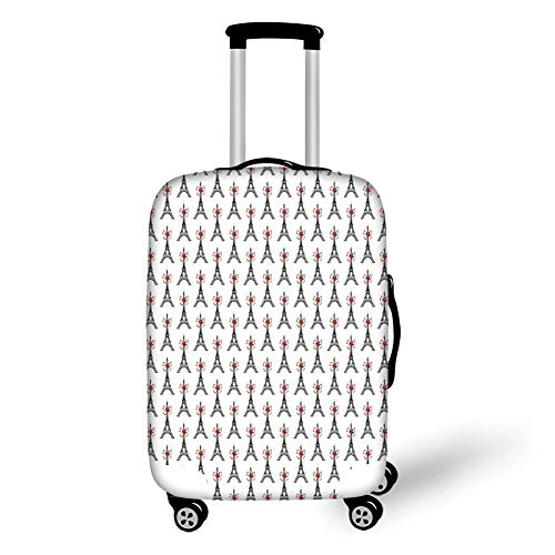 Travel Luggage Cover Suitcase Protector,Eiffel,Classical Towers with Bowties Sketch Art Style Tourist Attraction Travel Theme,Ruby Black White,for Travel Polka Dot Bowties