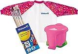 Pelikan Malschürze mit Klett-Verschluss und Tragebeutel für Kinder von ca. 6 - 9 Jahre / Kombi-Set (+ Elefanten-Becher & 5 Pinsel, Rot)