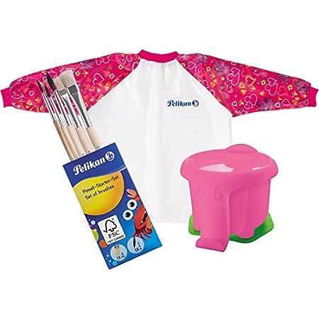 Pelikan Wasserbecher im Elefanten-Design mit Pinselhalter/Kombi-Set (Wasserbecher, Malschürze & Pinsel-Set, Pink)