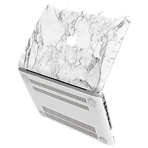 iBenzer - Soft-Skin Smooth Finish Plastic Hard Case Cover for Macbook Pro 13'' (A1278) WITH CD-ROM, White Marble