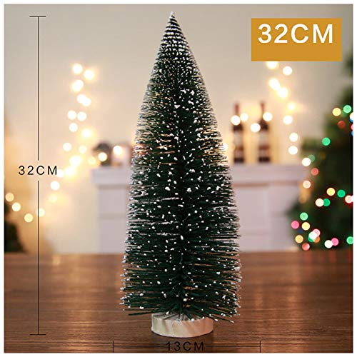 ZREAL Mini Sisal Christmas Trees Snow Frost Holzsockel Home Party Decoration Ornament 32cm -