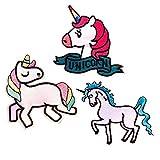 3 pcs Unicornio Animales Parches Ropa Termoadhesivos para Infantil Niño Bebe Jeans Ropa (Unicornio parches)