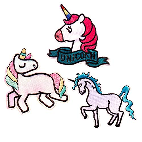 3 Pcs Unicornio Animales Parches Ropa Termoadhesivos Bordados Cosido Apliques para Infantil Niño(Unicornio parches)