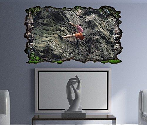 3D Wandtattoo Freeclimbing Felsen Klettern Extrem selbstklebend Wandbild Tattoo Wohnzimmer Wand Aufkleber 11L1969, Wandbild Größe F:ca. 97cmx57cm