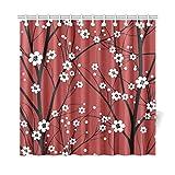 AGIRL Home Decor Bad Vorhang Japanische Kirschblüte Sakura Baum Zweig Polyester Stoff Wasserdicht Duschvorhang Für Badezimmer, 72 X 72 Zoll Duschvorhänge Haken Enthalten