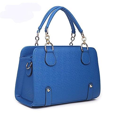 koson-man Femme Tendance en cuir PU sac vintage Sacs Poignée Supérieure Sac à main, bleu (Bleu) - KMUKHB034