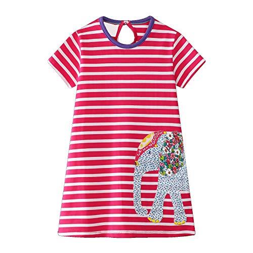 Vestido De Las Niñas De Los Niños Manga Corta Casual Algodón Raya Historieta Animal Lindo Aplique Patrón De Elefante Vestido Niña Camiseta 1-8 Años (Rosa Roja)