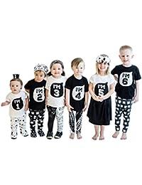 Covermason Niños Ropa Venta de liquidación Niños bebés niñas Niños Camisetas familiares Camisetas de manga corta(18M, I'M 1)