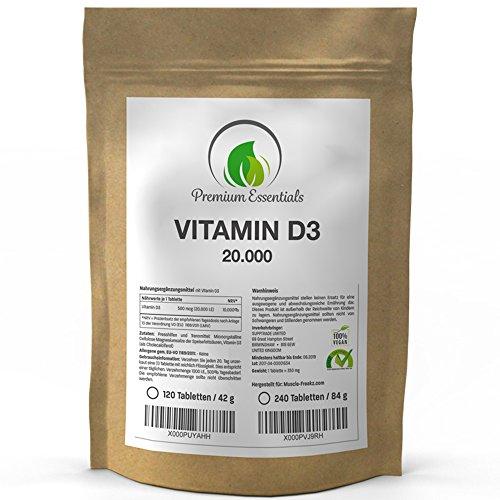 Vitamin D3 20000 I.E., 120 – 240 Tabletten (vegan), extra hochdosiert, eine Tablette alle 20 Tage, Premium-Qualität aus Deutschland (120) (E 10000 Pillen Vitamin)