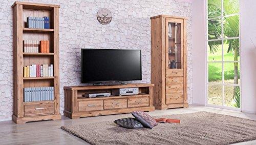 Möbelkultura COL-1Wohnwand tv-schrank, Vitrine Bücherschrank, Holz, braun / grau, 70 x 174 x 200 cm
