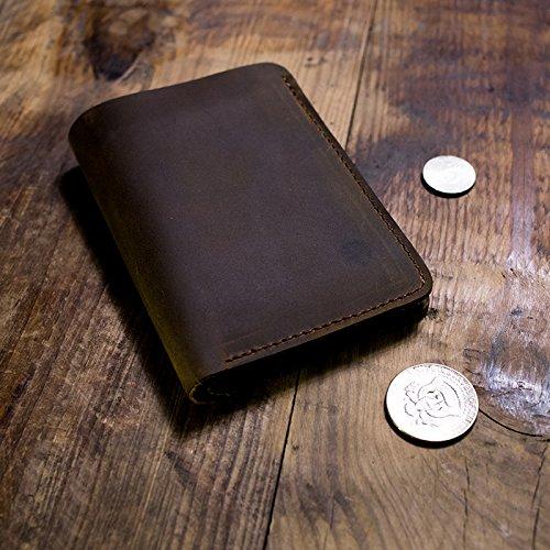 Original handgemachte Leder, Leder Mann, kurze Brieftasche, Retro Tasche, Freund, Geschenk, Braun Dark brown