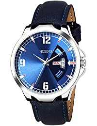Frosino FRAC101847 Blue Strap with Silver Case Day and Date Display Analog Watch for Boys and Men