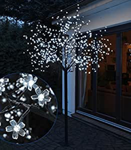 spetebo arbre lumineux led avec 600 led usage int rieur et ext rieur 250 cm blanc froid amazon. Black Bedroom Furniture Sets. Home Design Ideas