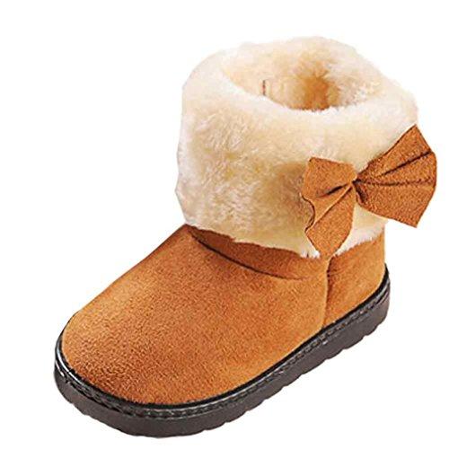 Schnee Stiefel Lenient Winter Mädchen Mode Bowknot Baumwolle Boot Warm Baby Schuhe Luckygirls (Alter: 12-18M, Braun)