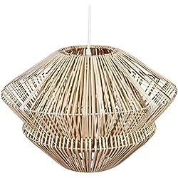 Gran lámpara de techo en MIMBRE - Diámetro 48 cm - Color MADERA Natural