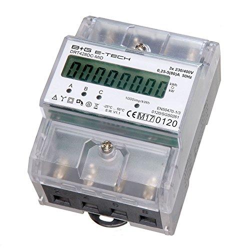 B+G e-tech DRT428DC-MID - LCD digitaler Drehstromzähler Stromzähler MID GEEICHT / BEGLAUBIGT 5(80)A mit S0 Interface für DIN Hutschiene