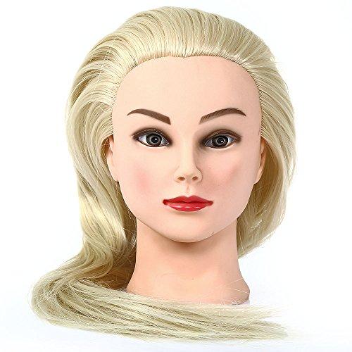 Besmall Tête à Coiffer 50% Cheveux Hmuains Poils De Chameau Résistante à haute température 60cm Tête d'exercice pour le Salon Coiffeur