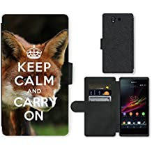 PU Cuir Flip Etui Portefeuille Coque Case Cover véritable Leather Housse Couvrir Couverture Fermeture Magnetique Silicone Support Carte Slots Protection Shell // Q01012834 keep calm and carry on 585 // Sony Xperia Z5
