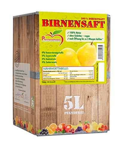 Pfannenschwarz Birnensaft 100% Direktsaft, 2er Pack (2x5 l Bag in Box) -