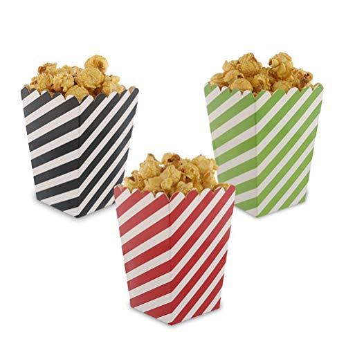 Toyvian 36 Stück Streifen Popcorntüten Popcorn Boxen Papiertüten Partytüte Tüte Schachtel Tasche für Snack Süßigkeiten Kinder Geburtstag Party Baby Duschen Babyparty (Schwarz, Rot und Grün)