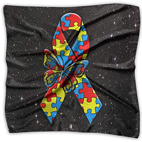 Autism Awareness Ribbon Fashion Women's Printed Square Scarf Scarve Head Wrap Shawl -