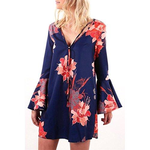Kleid Damen Btruely Sexy V-Ausschnitt Flare Langarm Blumen Drucken Mini Dress (L, Marine)