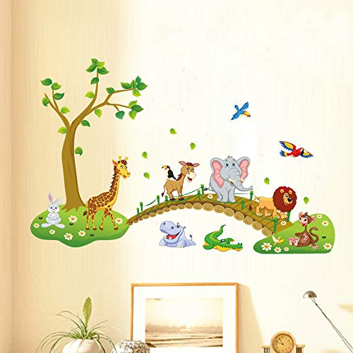 Nette Waldtiere Kreuzung Brücke Cartoon Wandaufkleber Für Kinderzimmer Kindergarten Dekorative Tapete Elefanten Vögel Baum