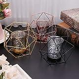 Wanfor 3D Geometrischer Kerzenhalter aus Metall für Hochzeit, Heimdekoration, 3 Farben, Eisen, Gold, Einheitsgröße - 5