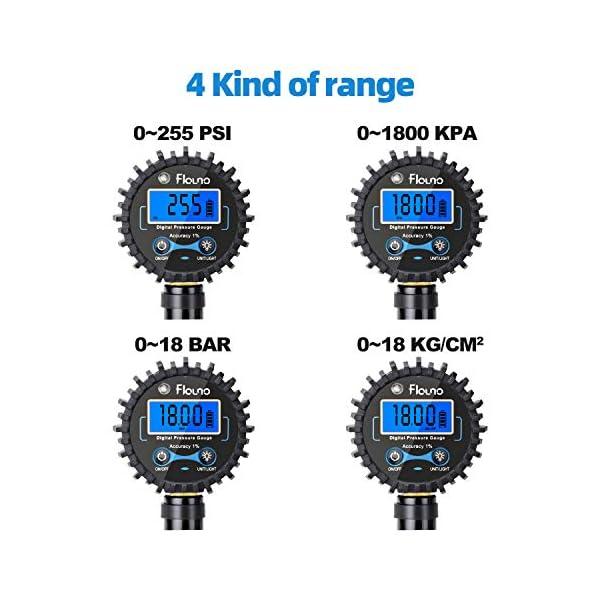 Flauno Manómetro Digital de Neumáticos 255 PSI, Medidor presión neumáticos con Manguera y Acoplador, Medición Rápida y…