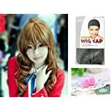 Japanese Anime Wigs @ TIGER×DRAGON Toradora 70cm Brown Long Curly with Non Removable Pigtail + Wigs Cap + Anti-dust Plug Stopper