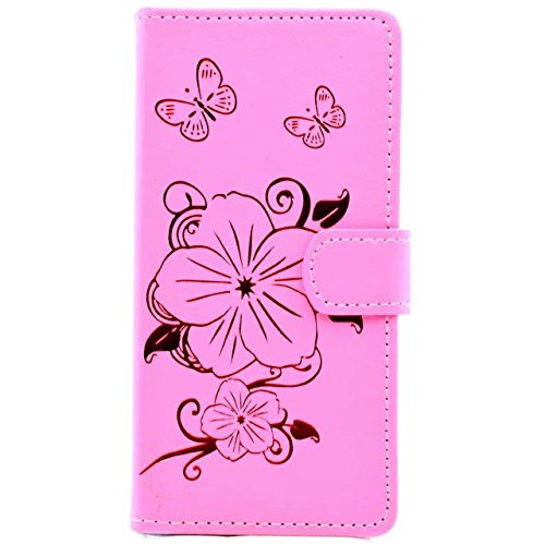 Wkae Case Cover Fleurs Butterfly Gilding Pattern Case Portefeuille Stand Case Horizontal Flip Case PU Housse en cuir TPU pour Apple IPhone 7 4,7 pouces ( Color : Gold , Size : IPhone 7 4.7 Inch ) Pink