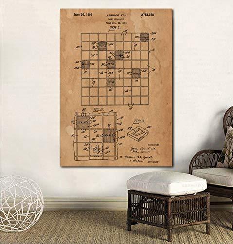 UDIYXC Juego de Mesa Scrabble Impresión en Lienzo Decoración de la habitación Arte de la Pared Decoración para el hogar Sin Marco, 60x80cm