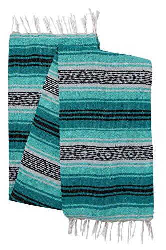 El Paso Designs Original mexikanischen Falsa Decke-Yoga Studio Decke, bunt, gewebte weiche SARAPE Importiert aus Mexiko, Teal and Mint