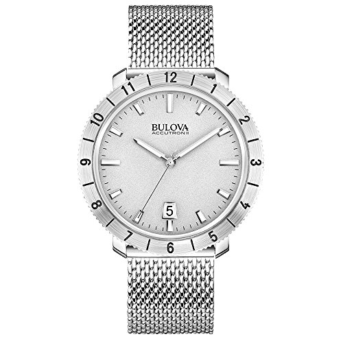 Bulova Accutron II Unisex Quartz Watch with Grey Dial Analogue Display and Silver Stainless Steel Bracelet 96B206