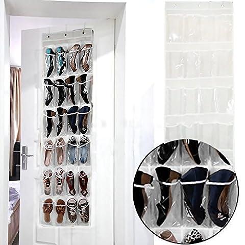 Tür-Organizer Hängeorganizer für Tür, 24 Taschen mit Tür-Hänger Schuhe-Aufbewahrungstasche (45 x 135 cm)