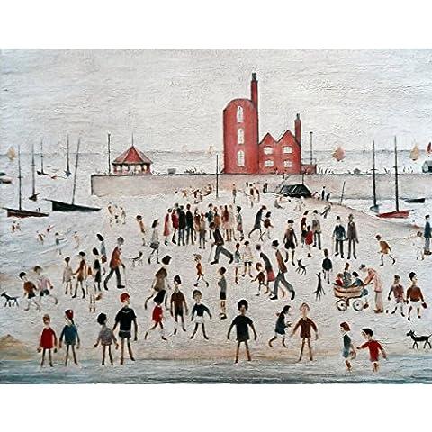"""L S Lowry specialità Stampa/Immagine """"Spiaggia e di promenade su una struttura in lino, misura media (immagine 40,6x 30,5cm + bordo), Image 16, 40 x 30 cm"""