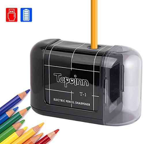 Temperamatite elettrico professionale tepoinn temperino automatico batteria operata portatile temperamatite elettrici ideale per matite colorate bambini artista scuola ufficio casa funziona con 4aa batterie (non incluse) - nero