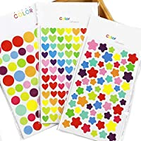Kids B Crafty 1200 Hearts Stars Spots Scrapbook Stickers Craft Stickers Children - Craft Supplies - Reward Chart - Scrapbook - Calender - Sticky Star - Behaviour