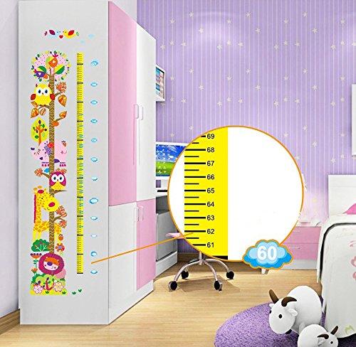 Preisvergleich Produktbild ufengke® Cartoon-Löwe Giraffe Elefant Vogel Baum Messlatten Wandsticker (0Cm-140 Cm), Kinderzimmer Babyzimmer Entfernbare Wandtattoos Wandbilder