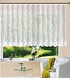 Gardine Store Jacquard Mainz HxB 145x450 cm Kräuselband Universalband Weiß Blumenmuster Transparent Voile Vorhang Wohnzimmer, 13144