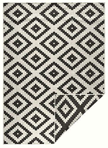 bougari In- & Outdoor Wendeteppich Malta Schwarz Creme, 160x230 cm