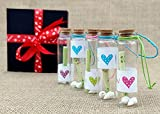 McClub Valentines Special Personalized Gift Love Message Bottles Set of 5 Piece with Beautiful Wooden Box