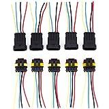 CLE DE TOUS - 5 Juegos de 4 PIN Conector Eléctrico Sellado Estanco Impermeable con Cables para Coche Moto Barco