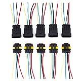 5 Set Steckverbinder Wasserdicht 4-polig Schnellverbinder Superseal Stecker Steckverbindung mit Kabel für KFZ LKW Auto