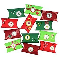 24 cajitas de almohada para calendario de Adviento - Juego de cajas para calendario de Adviento DIY – 24 cajas de colores para exponer y rellenar – 24 cajas - verde rojo