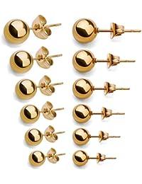 Jstyle Joyería de Acero Inoxidable 6 Pares Pendientes Bolas Dorado para Mujer Hombre 2mm 3mm 4mm 5mm 6mm 7mm