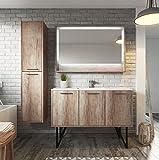 Badezimmer Badmöbel Tulum 120 cm Nature Wood - Unterschrank Waschbecken Waschtisch LED Spiegel und Schrank