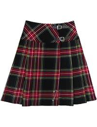 Kilt à carreaux en tartan Stewart - femme - noir - 58 cm