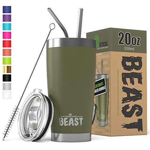 Le gobelet BEAST de 20 oz en acier inoxydable isolé pour randonneur Tasse de café double paroi Mug de voyage avec couvercle anti-éclaboussures, 2 pailles, et brosse de canalisation