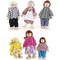 ROSENICE 6pcs Wooden Puppet Toys Cartoon Family Dolls for Children Play House Gift (Random color)